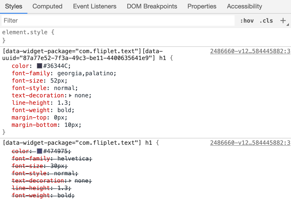 Chrome Developer Tools CSS